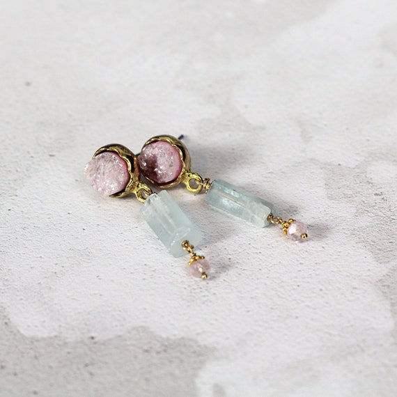 Raw Aquamarine Earrings - Rose Quartz Earrings