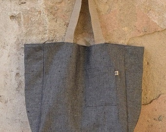 LARGE Heavy LINEN Tote Bag, Shopping Bag, Market Bag, Beach Bag, Linen Bag