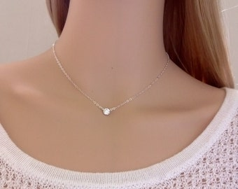 Sterling silver and cubic zirconia necklace; simple silver necklace; choker; petite necklace; classic, pretty necklace