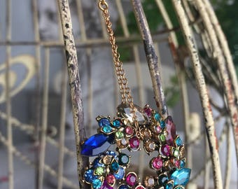 kaleidescope - lariat necklace rhinestone wreath pendant multi color vintage inspired minimal jewelry spring summer trend, the french circus