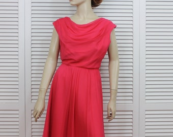 Vintage 1960s Hot Pink Chiffon Dress Elinor Gay Original Size Medium/Large