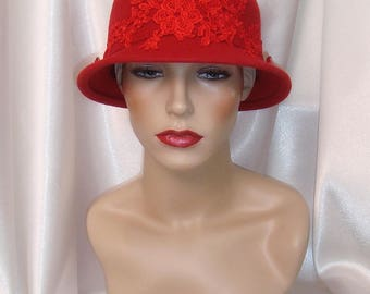 Red Wool Cloche Hat, 1920s Cloche Hat, Phryne Fisher and Downton Abbey Inspired Hat