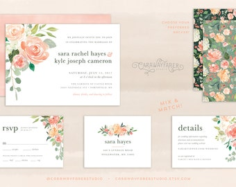 Printable Peach Wedding Invitation Set Sage Blush Rose Watercolor Floral Wedding Invitation Suite Garden Wedding Invitation Spring Wedding
