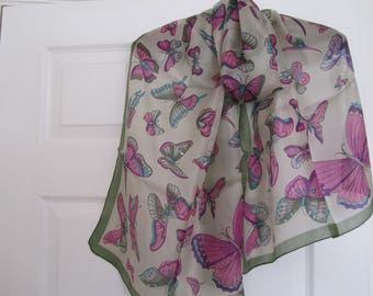 100% fine Indian butterfly silk scarf