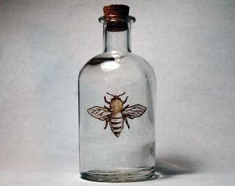 Apothecary Bottle // Apothecary Bee Bottle // Honey Bee Bottle // Glass Goat Apothecary Bottle // Honey Bee Decor // Apothecary Vase