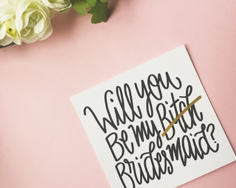 "Will you be my Bridesmaid 5"" x 5"" card Wedding Stationery"