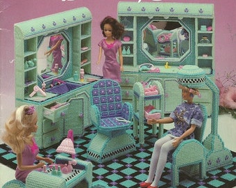 Plastic Canvas Pattern:  Fashion Doll BEAUTY SALON for BARBIE Size Dolls - By Priscilla Timm - Manicure Table - Styling & Shampoo Station...