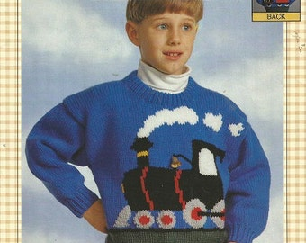 BERNAT Knitting Pattern - Presents EWE Can Knit - The TRAIN - 1808 - Sizes 2-8 - Copyright 1996 - Child's Pullover Sweater