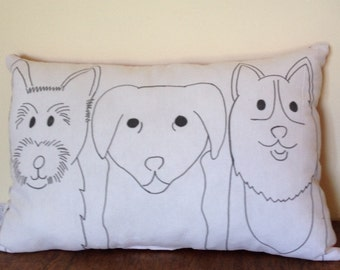 Cushion- Dog Cushion - Dog Theme -  Three Dogs - Dogs - Dog Pillow