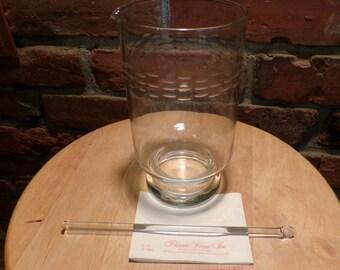 Etched Glass Martini Pitcher with Glass Stirrer Princess House, Vintage glass barware, Martini Pitcher, Martini barware, 1980 prop