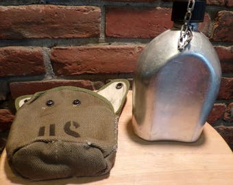 Soling Japan Canteen with Cover, Green Canteen cover with canteen, Vintage U S Canteen, Military canteen