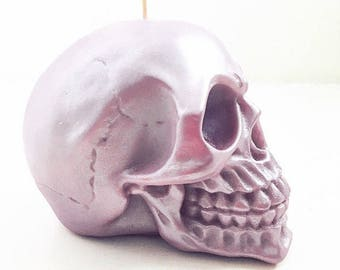 Metallic Skull Candle - Choose your own colour & scent - Soy wax candle - Skull decor - Vegan candle - Custom candle - Birthday gift