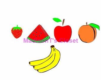 Fruit Apple Banana Peach Strawberry Watermelon Scrapbook SVG Cutting Digital File Only