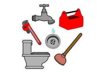 Plumbing Plumber Toilet Faucet Sink Plunger SVG Cutting Digital File Only