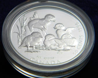 1996 Canada Canadian Coin 50 Cents Sterling Silver Proof Little Wild Ones Baby Wood Duck Free Shipping