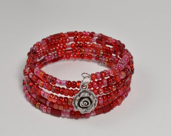 Red Memory wire bracelet with rose charm