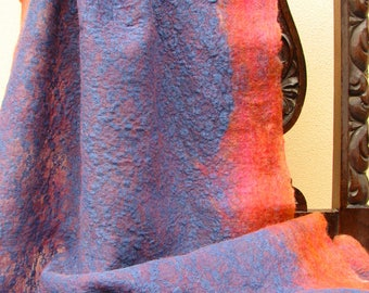 """Hand felted scarf of merino wool and lace """"Blue lace""""/ Worldwide Free Shipping /"""