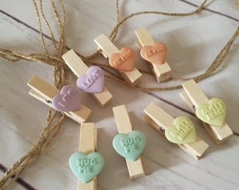 Fun Photo pegs or picture pegs with string ~ love hearts display ~ teenager ~ kids bedroom ~ playroom ~ art area