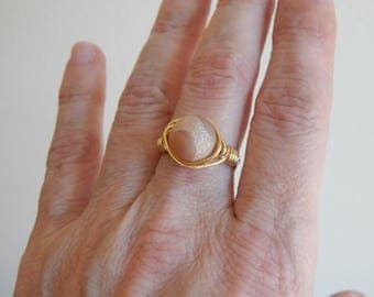 Gold wire wrapped peach druzy agate ring, boho style, everyday ring, festival jewelry, beach chic jewelry, spring jewelry, gift for her