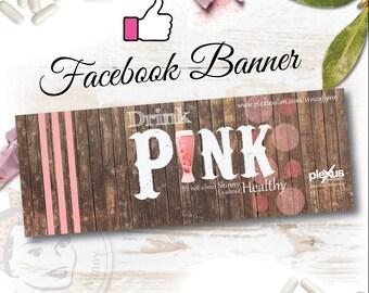 Plexus Facebook Banner Barnwood Pink - DIGITAL FILE