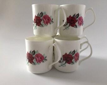 Duchess Style English Fine Bone China Mugs Pink & Red Roses x6