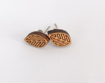 Earrings studs wood leaf design bamboo plywood, hypoallergenic surgical steel posts