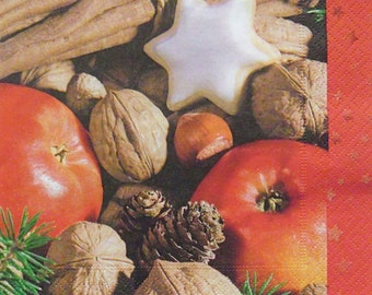 Set of 2 pcs 3-ply ''Apples and Nuts'' paper napkins for Decoupage or collectibles 33x33cm, Winter napkins, Holiday napkins, Fruit napkins