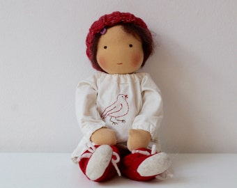"Classic Waldorf doll (12"") with embroidered blouse, shoes, hat and pants - brown crocheted MoHair & brown eyes"