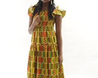 African Clothes Kente Print Smocked Maxi Dress