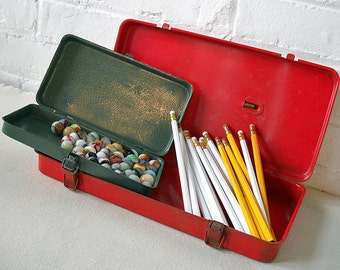 Two Vintage Metal Storage Boxes Tins Tools Pencil Box Marbles Paint Brushes