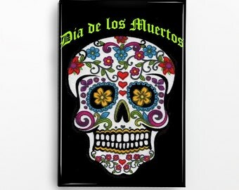 Dia de los Muertos Sugar Skull Rectangle Magnet 390