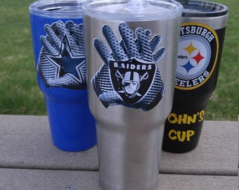"New! Oakland Raiders 30oz ""Glove"" Custom Tumbler Decal Sticker FREE  Fast Shipping! Buy 2 Get 1 Free! Best Seller! Only Here! 2 Styles!"