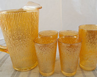 Vintage Jeanette Glass Carnival Glass Tree Bark Marigold Pitcher & 5 Tumblers