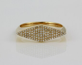 0.25ct Pavé Diamond in 14K Yellow Gold Rhombus Geometric Shape Ring - CUSTOM MADE