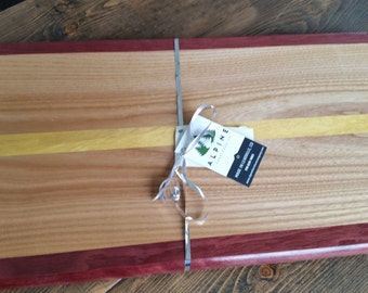 Large Cutting Board Made in Colorado from Exotic Woods - Yellow Heart, Red Oak and Padauk Woods