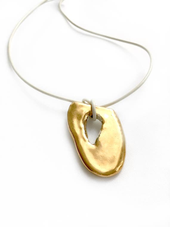 Gold Luster Ceramic Pendant Necklace