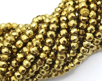 Gold Pyrite Beads FULL Strand Rondelle Faceted 3-3.5 mm AAA Golden Finest Quality Natural stone 13 inches length  GB-51