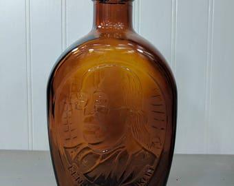 Vintage Log Cabin Syrup Benjamin Franklin Bicentennial Amber Glass Bottle, 1976 Collectible General Foods Log Cabin Syrup Bottle