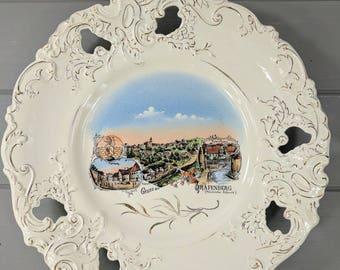 "Antique German Hand Painted Scenic 10.5"" Souvenir Plate, City of Gråfenberg in Bavaria, Ornate German Pottery, Cake Plate, Wall Decor"