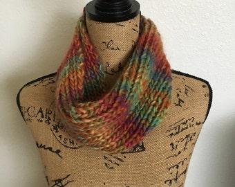 Rainbow Cowl Scarf - Infinity Scarf - Knit Scarf