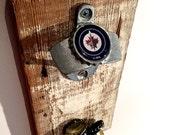 Magnetic Bottle Opener with NHL team logo (Winnipeg Jets, Chicago Blackhawks, Toronto Maple Leafs, Montreal Canadiens, New York Rangers)