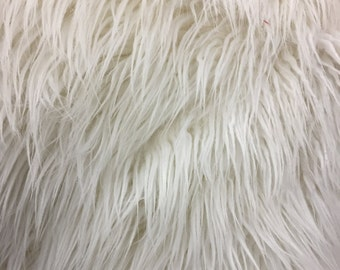 White Long Pile Mongolian Faux Fur Fabric - Sold By The Yard - 60""