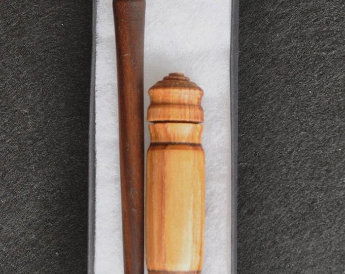 1- Walnut wood stitch lay helper tool & 1- hickory wood needle storage case set sku 115A2017