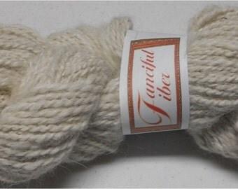 Handspun 100% Alpaca Yarn 2-Ply White Worsted (7)