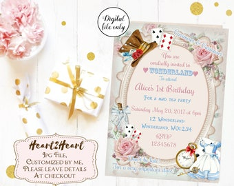Digital Alice in Wonderland Birthday Invitations - Printable,Digital Download,Personalized,Party