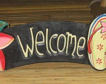 "SALE!!! 20""Flip Flop  Wood Welcome Sign/Wreath Supplies/Summer Decor/1837-2-850"