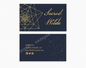 Navy and Gold Business Card Design, Sacred Geometry Business Card , Gold Foil , Spiritual Business Card , Geometry Card , Star Business Card