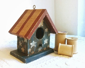 Small Decorative, Rustic, Patriotic Birdhouse - Hand Painted Red, White, and Blue with Eyehook for Hanging