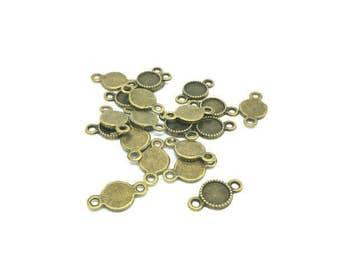 50 connectors Bronze plate 8mm cabochon