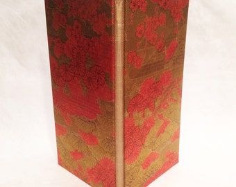 Gold and Red Flowers Kimono Cloth Blank Book